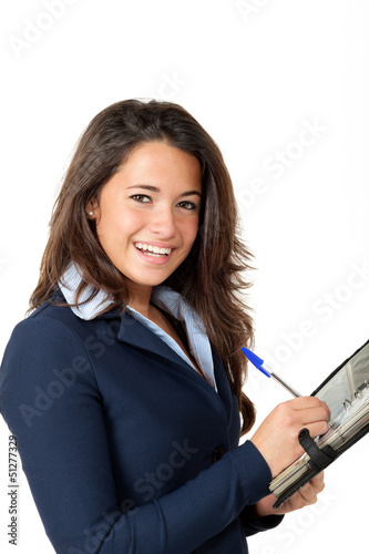 portrait of young female employee, isolated on white background