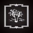Etiquette oasis palmier noir et blanc rétro
