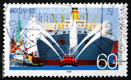 Postage stamp Germany 1989 Ships, Hamburg Harbor