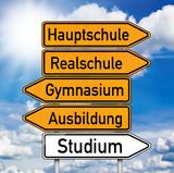Wegweiser mit Hauptschule, Realschule und Gymnasium poster