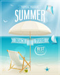 Seaside view poster. Vector background.
