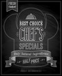 Chef`s specials Poster - Chalkboard. Vector illustration.