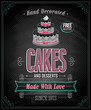 Cakes Poster - Chalkboard. Vector illustration.