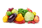 Fototapety set of fruits and vegetables isolated on white background