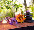 massage stones with bamboo background with daisies and wisteria