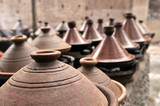 Moroccan tajines ceramic cookware at the market