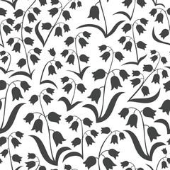 konwalie na białym tle monochromatyczna wiosenna łąka