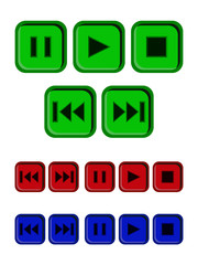 Play, stop, pause buttons set
