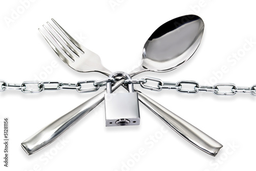 """The spoon and fork with a chain and padlock on a white ."""