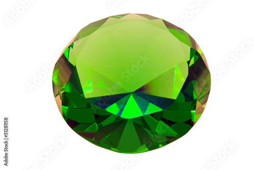 green emerald stone on a white background