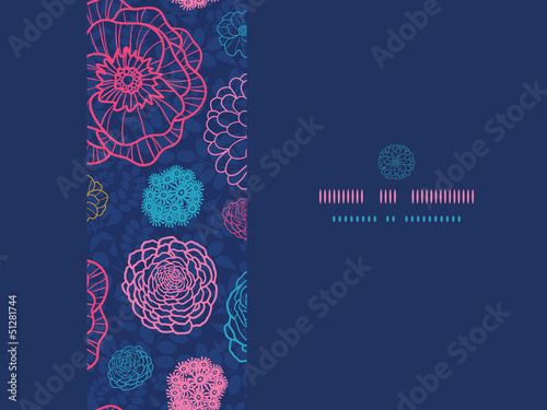 Vector glowing night flowers elegant horizontal seamless pattern