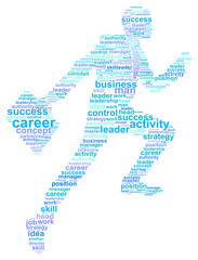 Business Man Success In Career Word Cloud Concept