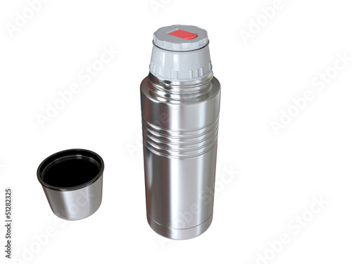 Thermos on white background . 3D image