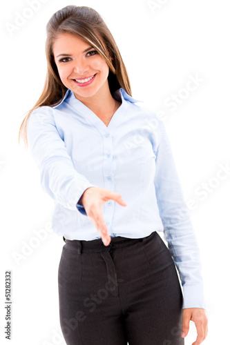 Business woman handshaking