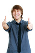 smiling young man with thumbs up
