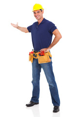 cheerful handyman presenting