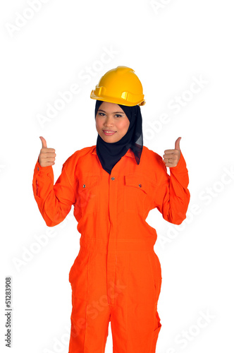 Muslim woman with personal protective equipment show thumbs up