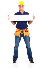 construction contractor holding banner