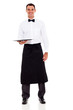handsome waiter on white background