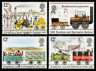 Britain Steam Train Postage Stamps