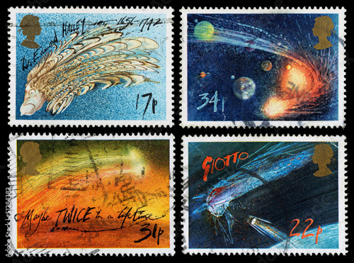 Britain Halleys Comet Postage Stamps