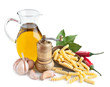 Still life with ingredients for preparing pasta