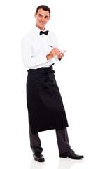 smiling waiter taking orders