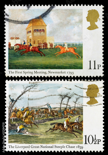 Britain Horse Racing Postage Stamps