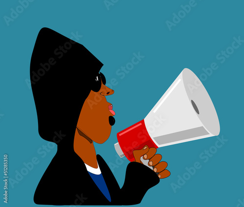 black man with megaphone