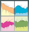Collection of cut out colors paper background.
