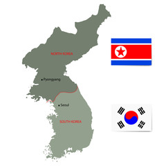 North and South Korea vector map with flags