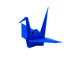 origami blue paper bird on white background