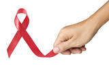 Hand Make Red Ribbon for AIDS symbol on white background