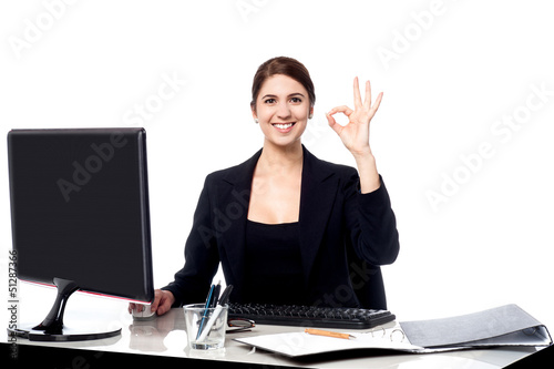 Business is great. Cheerful corporate woman.