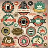 Collection of retro car labels, badges and icons