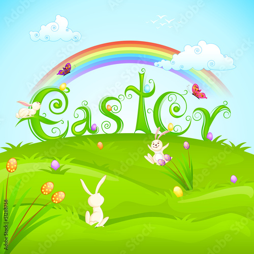vector illustration of bunnies with colorful Easter egg