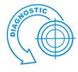 diagnostic sur symbole bleu