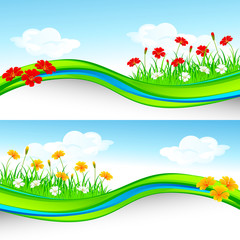 vector illustration of nature template with flower and grass