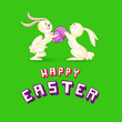 vector illustration of Easter bunny presenting colorful egg