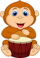 Cute monkey playing drum