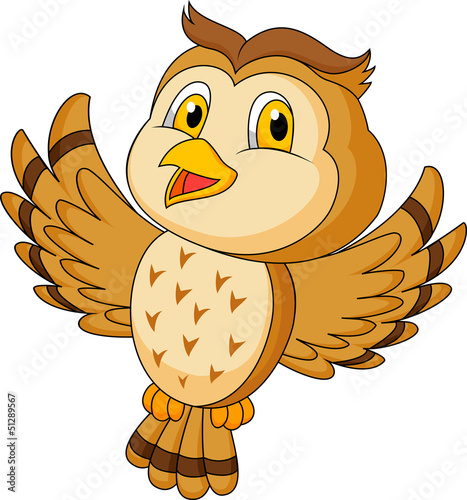 CVute owl cartoon flying