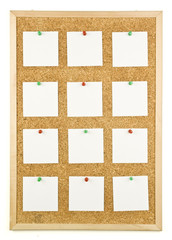 White notes with pin on corkboard