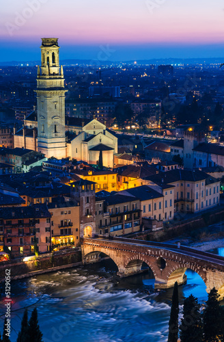 Verona night view with Ponte Pietra and Duomo