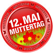 "Button Blumen ""12. Mai Muttertag"" rot"