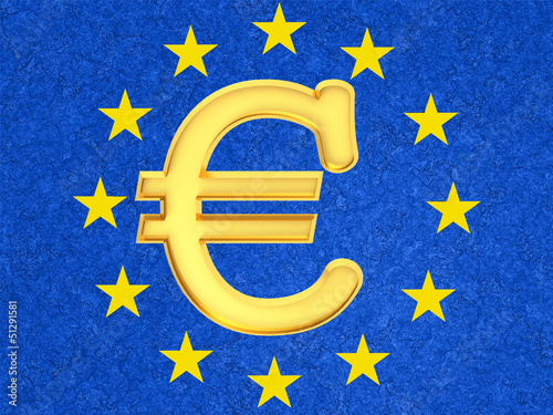 The euro sign against the EU flag