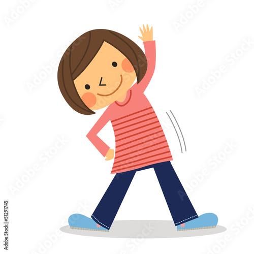 体操する女の子