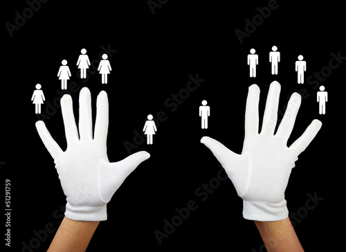 gender balance - hands with women and men icons