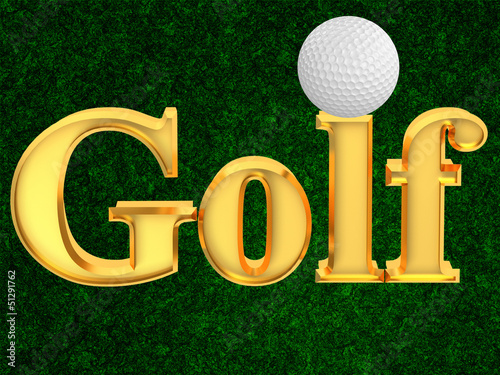 Inscription golf with ball on a green background