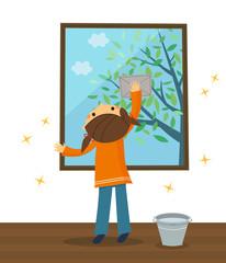 窓ふきをする女の子