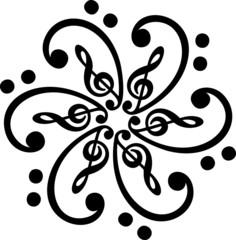 Notenschlüssel, Bassschlüssel Mandala, Klassik